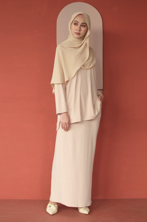 IRONLESS Comfortwear: Hope Skirt In Cream Nude