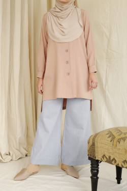 Plum Long Buttoned Tunic In Sand