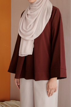 Leah Blouse In Oxblood Red