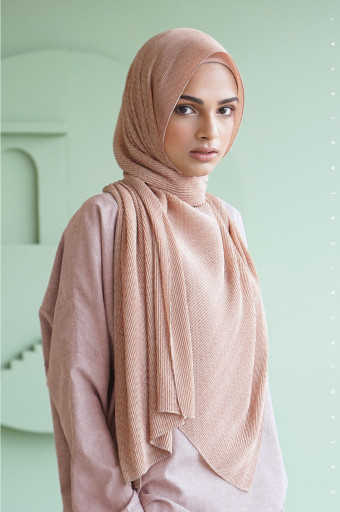 The Monogram Pleated Scarf In Chamomile