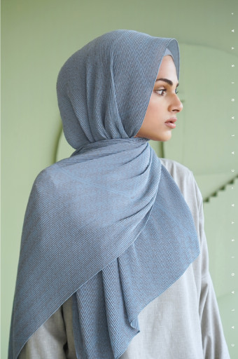 The Monogram Pleated Scarf In Dusk Blue