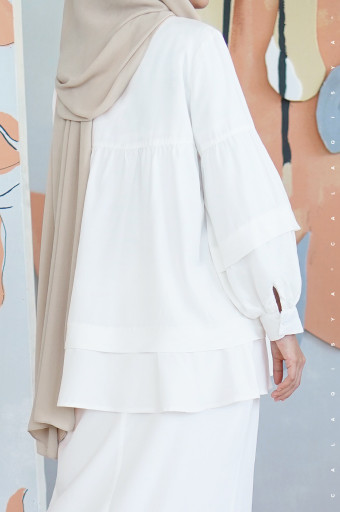 Puff Kurong In Off White (Full Lining )