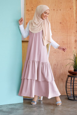 Sleeveless Gathered Long Dress 2.0 in Dusty Pink