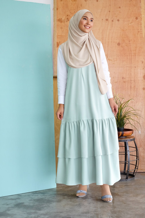 Sleeveless Gathered Long Dress 2.0 in Mint Green